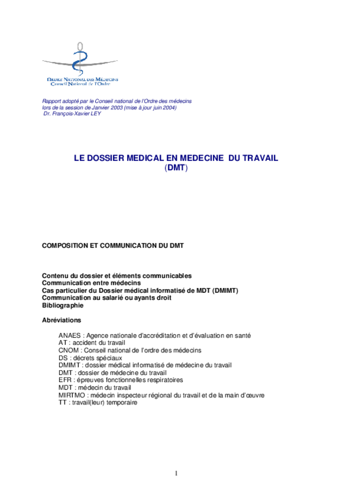 Dossier médical en médecine du travail